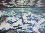 Sea Moon Full Moon Painting Originals - At the Edge by Cheryl Pettigrew