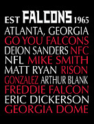 Poster Framed Prints Digital Art - Atlanta Falcons by Jaime Friedman
