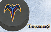 Puck Prints - Atlanta Thrashers Print by Joe Hamilton