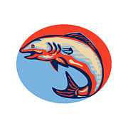 Salmon Digital Art Posters - Atlantic Salmon Fish Jumping Retro Poster by Aloysius Patrimonio
