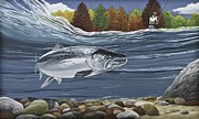 Salmon Paintings - Atlantic Salmon by Juan Jose Serra