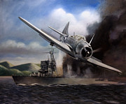 Cruiser Painting Posters - Attack on the Yura Poster by Stephen Roberson