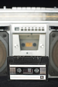 Tape Player Framed Prints - Audio cassette and player Framed Print by Deyan Georgiev