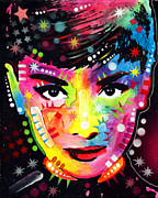 Celebrities Framed Prints - Audrey Hepburn Framed Print by Dean Russo