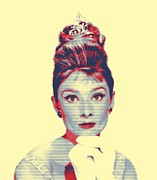 Bun Mixed Media Posters - Audrey Hepburn in  Breakfast at Tiffanys Poster by Art Cinema Gallery