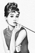 Black-and-white Posters - Audrey Hepburn Portrait Poster by Olga Shvartsur
