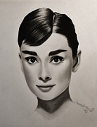 Hyper Mixed Media Framed Prints - Audrey Hepburn Framed Print by Samantha Howell
