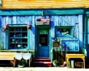 Small Towns Mixed Media Prints - Auntiques And Uncle Junque Print by Mel Steinhauer
