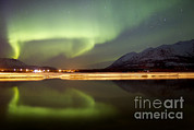 Reflection In Water Posters - Aurora Borealis Over Nares Lake Poster by Joseph Bradley
