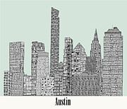 Capital Cities Mixed Media Framed Prints - Austin city skyline Framed Print by Brian Buckley