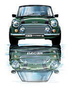 Bmw Digital Art Framed Prints - Austin Mini Cooper with new BMW Mini Cooper Reflected Framed Print by David Kyte
