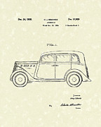 1935  Drawings Posters - Automobile 1935 Patent Art Poster by Prior Art Design