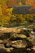 Covered Bridge Acrylic Prints - Autumn at Bulls Bridge Acrylic Print by Karol  Livote