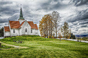 Norwegian Landscape Prints - Autumn Church Print by Erik Brede