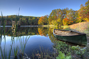 Fall River Scenes Posters - Autumn Lake Poster by Debra and Dave Vanderlaan