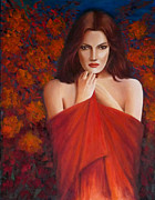 Shawl Paintings - Autumn Love. by Laurens  Vermaesen