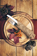Burlap Prints - Autumn Table Setting Print by Christopher and Amanda Elwell