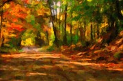 Fallen Leaves Posters - Autumn Watercolor Poster by Terri Gostola