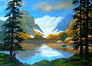 Disney Artist Framed Prints - Avalanche  Lake  Framed Print by Shasta Eone