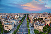 Champs Elysees Framed Prints - Avenue des Champs Elysees in Paris France Framed Print by Michal Bednarek