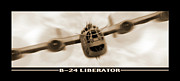 White Digital Art Posters - B 24 Liberator Poster by Mike McGlothlen