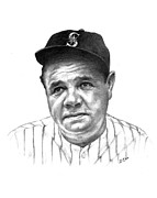 Babe Ruth Drawings Posters - Babe Ruth Poster by Lou Ortiz