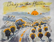 Invitations Paintings - Baby on the Horizon by Margaret  Plumb