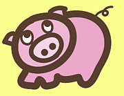 Colourful Prints Art - Baby Pig Art for the nursery by Nursery Art