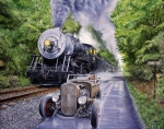 Train Painting Prints - Backwoods Duel Print by Ruben Duran