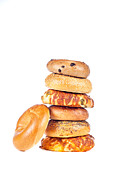 Multigrain Posters - Bagels on white background Poster by Joe Belanger