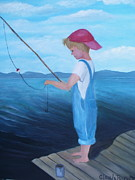 White Shirt Paintings - Bait Stealers by Glenda Barrett