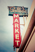 Grocery Store Posters - Balboa Market Sign Newport Beach Photo Poster by Paul Velgos