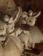 Gallery Art Paintings - Ballet rehearsal on stage by Edgar Degas