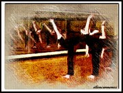 Ballerinas Digital Art Prints - Ballet Students Mirror Reflections III Print by Ellen Cannon