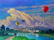 Balloon Fiesta Framed Prints - Ballooning on the Rio Grande Framed Print by Art West