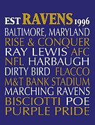 Subway Art Framed Prints Digital Art - Baltimore Ravens by Jaime Friedman