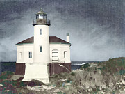 Pacific Northwest Framed Prints - Bandon Lighthouse Framed Print by Carol Leigh