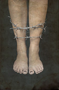 Foot Prints - Barbed Wire Print by Joana Kruse