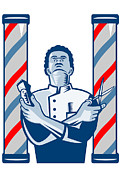 Hair Digital Art Prints - Barber With Pole Hair Clipper and Scissors Retro Print by Aloysius Patrimonio