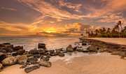 Lahaina Prints - Barbers point light house sunset Print by Tin Lung Chao