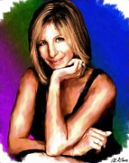 Art Glass Picture Prints - Barbra Streisand Print by Allen Glass