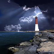 Red And White Posters - Barnegat Inlet Lighthouse Nj Poster by Skip Willits