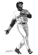 Player Drawings Posters - Barry Bonds Poster by Harry West