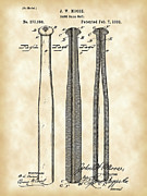 Parchment Framed Prints - Baseball Bat Patent Framed Print by Stephen Younts