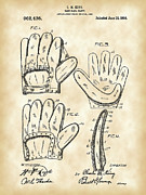 Old Pitcher Posters - Baseball Glove Patent Poster by Stephen Younts