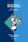Baseball Hitter Batting Diamond Retro Print by Aloysius Patrimonio