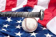 Baseball Seam Photo Metal Prints - Baseball on American flag Metal Print by Joe Belanger