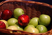 Color Green Posters - Basket of Apples Poster by Linda Phelps