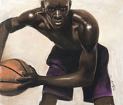 Sports Art Pastels Originals - Basketball Player by L Cooper