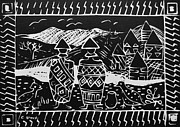 Black-and-white Reliefs Prints - Basothos in Lesotho Print by Caroline Street